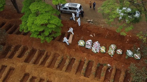 An aerial view of Vila Formosa cemetery as open graves are being prepared on Thursday amid the coronavirus pandemic in Sao Paulo, Brazil. Photograph: Alexandre Schneider/Getty Images