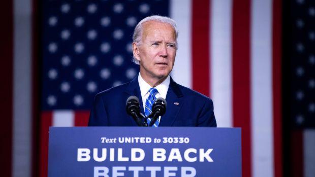Joe Biden, the presumptive Democratic presidential nominee, speaking in Wilmington this week. Photograph: Kriston Jae Bethel/The New York Times