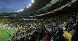 Fans in Wellington watch the Hurricanes take on the Highlanders earlier this week. Photograph: Inpho