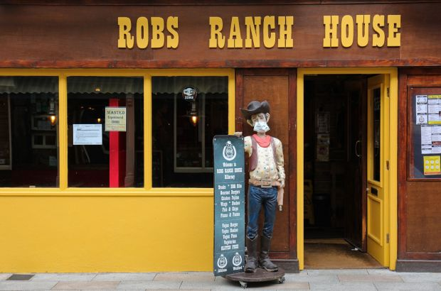 Masked cowboy Rob Roy is taking the Covid-19 restrictions seriously at Rob's Ranch House on Plunkett Street, Killarney. Photograph: Valerie O'Sullivan
