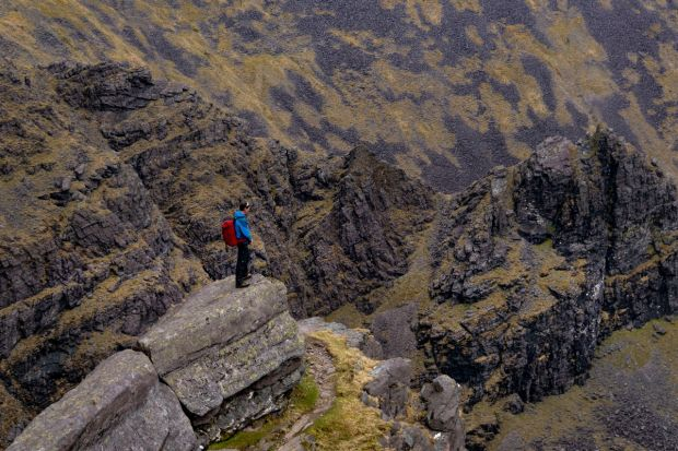 High Peaks Challenge event organiser and mountain guide Piaras Kelly on Céim an Fhiá - The Heavenly Gates - Carrauntoohil, the MacGillycuddy's Reeks, Co Kerry. Photograph: Valerie O'Sullivan
