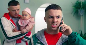 Chris Walley and Alex Murphy with Baby Star in The Young Offenders Chris Walley and Alex Murphy with Baby Star in The Young Offenders