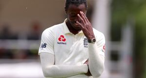 "England paceman Jofra Archer was ruled out of the second Test against the West Indies for breaking coronavirus ""protocols"". File photograph: Getty Images"