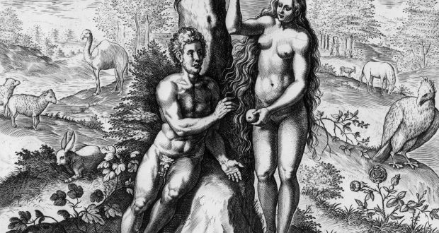 Eve offers Adam the fruit of the tree of knowledge of good and evil in the garden of Eden. 'Theatrum Biblicum' by Johann Fischen (circa 1650).