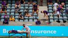 A Kilmacud Crokes player receives physio treatment as the team changes in the stands at Parnell Park. Photograph: Inpho