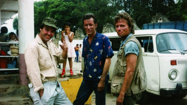 Oliver Stone, James Woods, and John Savage on the set of Salvador in Mexico in 1985. Photograph: courtesy of Oliver Stone and Ixtlan Productions