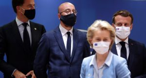From left: Dutch prime minister Mark Rutte, European Council president Charles Michel, French president Emmanuel Macron and president of the European Commission Ursula von der Leyen  in Brussels on Tuesday. Photograph: EPA