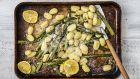 Roasted asparagus, buttered gnocchi and Parmesan