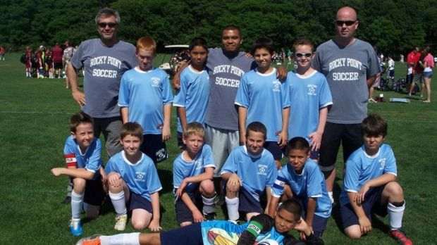 Dave Hannigan, right, back row in his soccer coaching days in the USA.