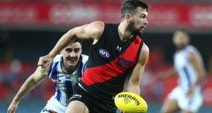 Conor McKenna in action for the Essendon Bombers during the round six  AFL match against  the North Melbourne Kangaroos at Metricon Stadium on July 11th. Photograph: Chris Hyde/Getty Images