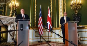 United States secretary of state Mike Pompeo and UK foreign secretary Dominic Raab: a potential post-Brexit free trade deal may be in the air. Photograph: Peter Summers/PA