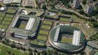 An aerial photograph  shows a general view of The All England Lawn Tennis Club  on the fourth day of the 2019 Wimbledon Championships. Photograph: Thomas Lovelock/AFP via Getty Images