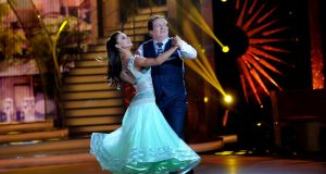 GAA broadcaster Marty Morrissey with Ksenia Zsikhotska dancing the quickstep during a live show of RTÉ's Dancing with the Stars in 2018. Celebrities and their dance partners won't be stepping out in 2021 as RTÉ has cancelled the fifth series of the popular show due to the impact of Covid-19. Photograph: Cyril Byrne