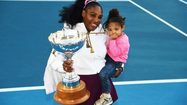 Irish backstop - Serena Williams from the United States with daughter Alexis Olympia Ohanian Jr after winning her singles finals match against Jessica Pegula at the ASB Classic in Auckland, New Zealand on January 12th, 2020. Photograph: Chris Symes/Photosport via AP