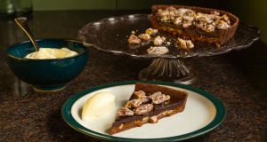 Pecan and salted caramel tart. Photograph:  Tara Gartlan