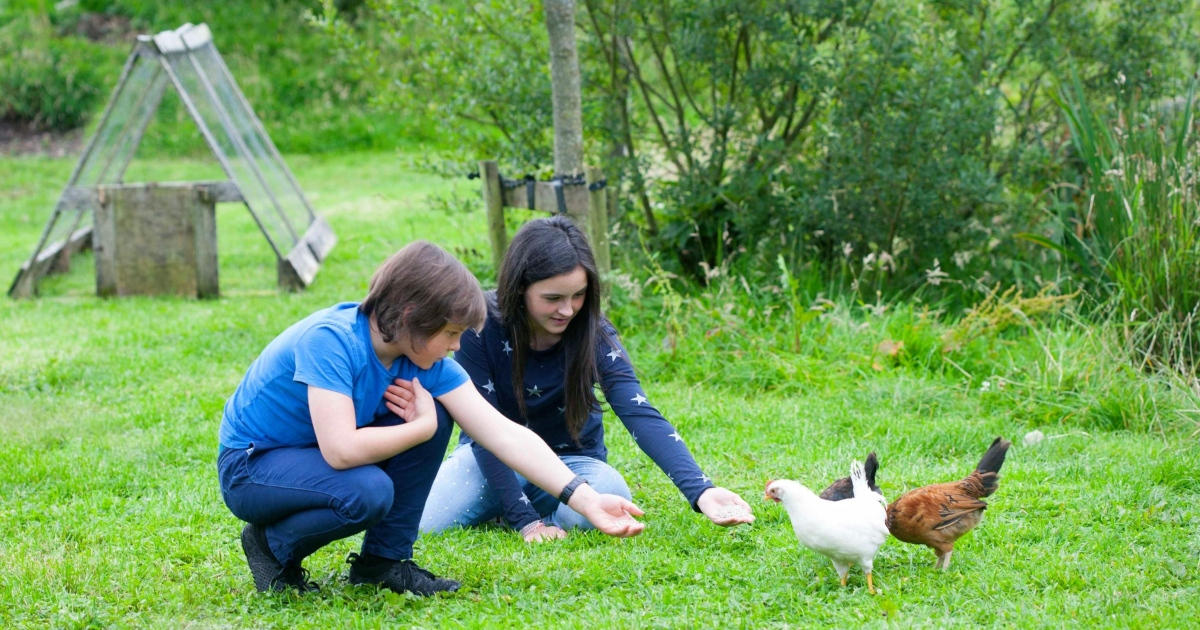 Laila and Floyd with their Bantam hens by the pond. Photograph: Brian Farrell