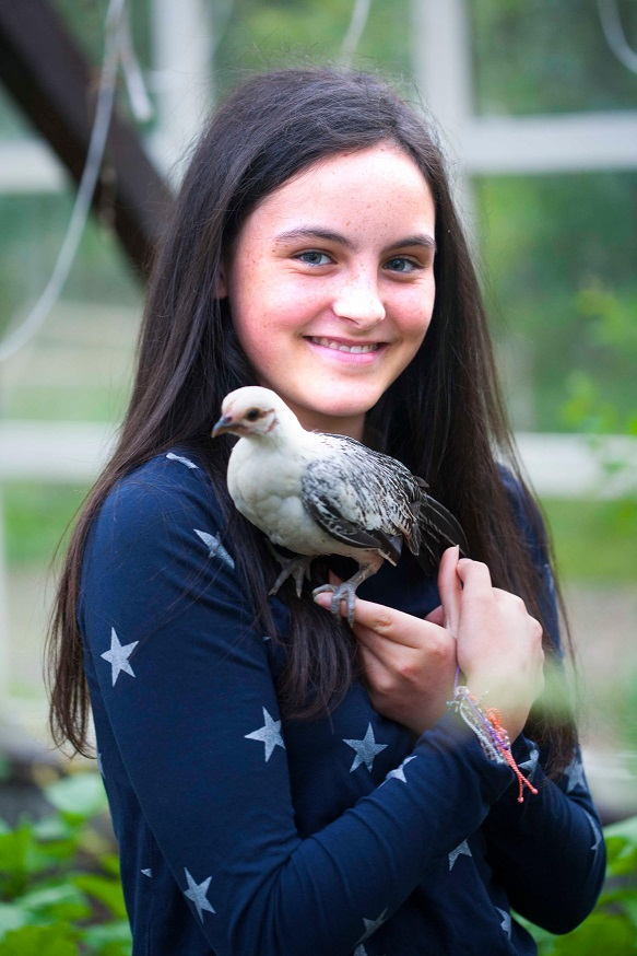 Laila with a Bantam chick. Photograph: Brian Farrell