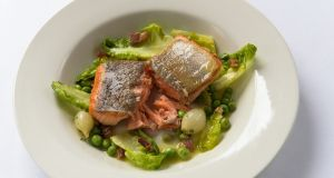 Sea trout with peas à la Francaise.