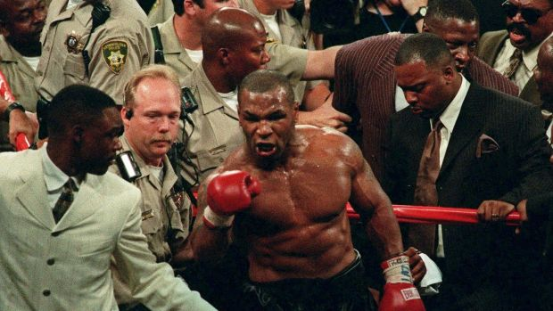 Mike Tyson throws a fit in the ring following his bout with Evander Holyfield at the MGM Grand Garden in Las Vegas, on June 28th, 1997. Tyson had been taken off antidepressant drugs two days before he became enraged and threw a TV set in a Maryland jail. Photo: Lennox Mclendon/AP Photos