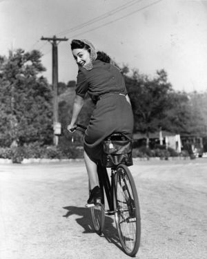 Olivia De Havilland riding a bicycle in 1938. Photograph:  Hulton Archive/Getty Images