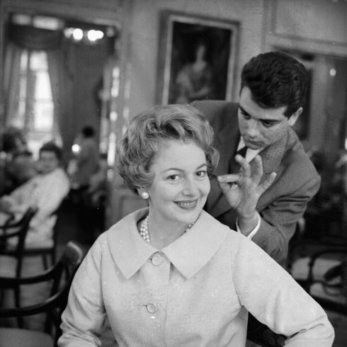 Getting her hair and make-up done in 1958. Photograph:  Express/Getty Images