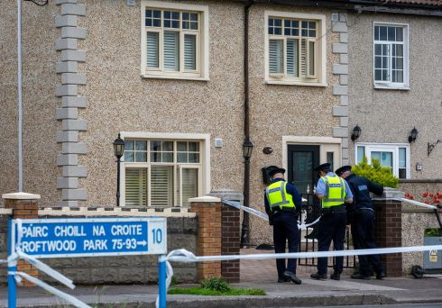 FATAL SHOOTING: Gardai at the location where a man was shot dead in Croftwood Park, Ballyfermot, Dublin. They are investigating whether it was a case of mistaken identity. Photograph: Tom Honan