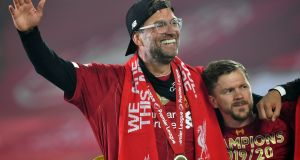 Jürgen Klopp has been named the League Managers' Association manager of the year after guiding Liverpool to the Premier League title.  Photograph: Paul Ellis/PA Wire