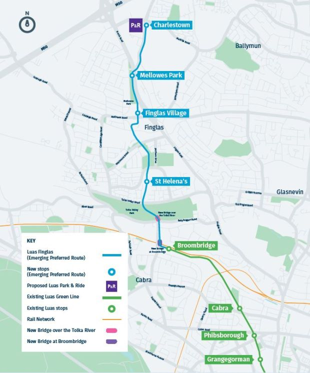 Map of proposed Luas Green line route. Photograph: National Transport Authority