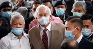 Former Malaysian prime minister Najib Razak arriving at the courthouse in Kuala Lumpur on Tuesday. Photograph: Vincent Thian/AP