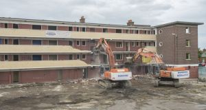 Demolition as part of the regeneration of St Teresa's Gardens complex in Dublin 8. File photograph: Brenda Fitzsimons