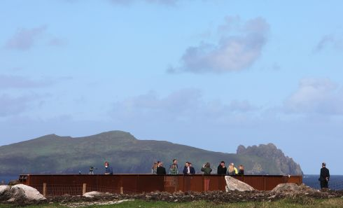The spectacular Wild Atlantic Way Viewing point at the clifftop site of the OPW run Ionad an Bhlascaoid (Blasket Centre) in Dun Chaoin in the West Kerry Gaeltacht was opened today. Photograph : Valerie O'Sullivan