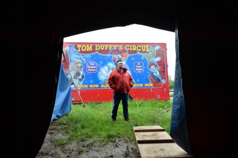 David Duffy 6th Generation co owner of Tom Duffys Circus at their practice grounds near Navan, Co Meath. The circus has decided to stop performing for the forseeable future due to the Coronavirus  limit on audience numbers.   Photograph: Alan Betson / The Irish Times
