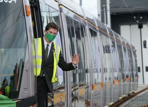 At Luas Broombridge Depot today, Eamon Ryan T.D., Minister for Climate Action, Communications Networks and Transport, announced the launch of a Public Consultation for Luas Finglas and welcomed the first of eight new Luas 55m trams into service. Photograph: Alan Betson / The Irish Times