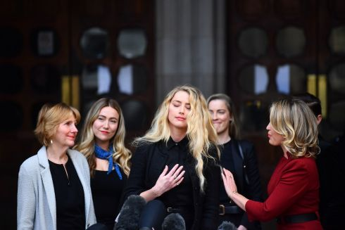 Actress Amber Heard gives a statement outside the High Court in London on the final day of hearings in Johnny Depp's libel case against the publishers of The Sun and its executive editor, Dan Wootton. After almost three weeks, the biggest English libel trial of the 21st century is drawing to a close, as Mr Depp's lawyers are making closing submissions to Mr Justice Nicol. Photograph: Victoria Jones/PA Wire