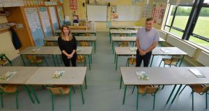 Monica Hickey, 5th class teacher and Matt Melvin, school principal at St Etchen's National School, Kinnegad, Co Westmeath. Photograph: Alan Betson