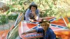 The American south on wheels: Tom Wopat and John Schneider with The Dukes of Hazzard's star car, General Lee