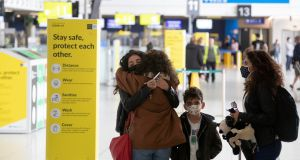 Passengers at the departure gates at terminal 1 in Dublin airport on Thursday. Photograph:  Colin Keegan/Collins