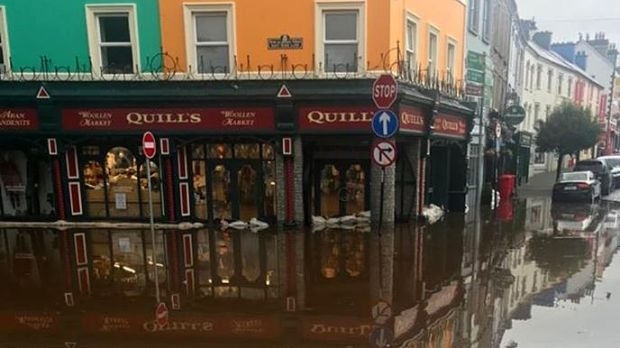 Flooding in Kenmare, Co Kerry this morning after heavy rain. Photograph : Kerry County Council