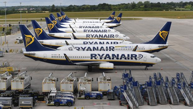 Ryanair aircraft at Stansted Airport in London. Photograph: Andy Rain/EPA