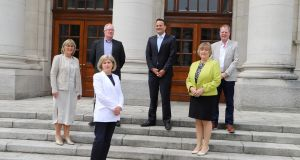 At the announcement of the Future Growth loan scheme were Enterprise Ireland chief executive Julie Sinnamon, Pat Sherlock of Luzern Technologies, SBCI chairwoman Barbara Cotter, Minister for Enterprise Leo Varadkar, and secretary general of DBEI Dr Orlaigh Quinn.