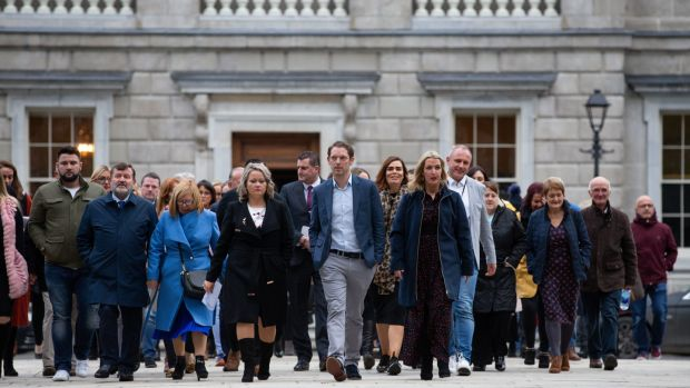 CervicalCheck campaigners Lorraine Walsh, Stephen Teap and Vicky Phelan leaving Leinster House. Photograph: Tom Honan / The Irish Times.