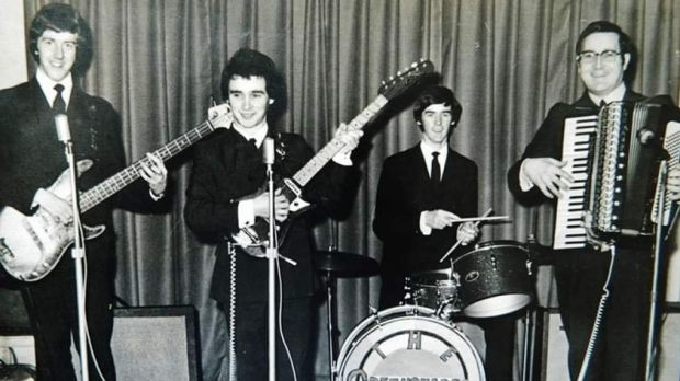 Stephen Travers (far left) in a band as a teenager. Photograph: courtsey Stephen Travers