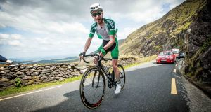 In action for Team Ireland in 2016, Ronan McLaughlin has broken the world record for the fastest ascent on a bicycle up the height of Mount Everest. File photograph: Inpho