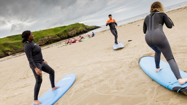 Owen Murphy of Murph's Surf School giving a surf lesson on Tullan strand. Photograph: James Connolly