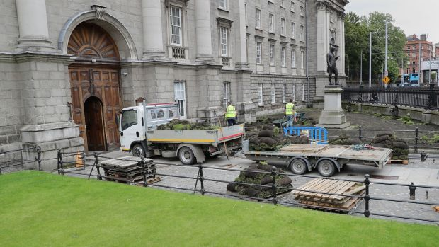 The Lawns being removed from the front entrance at Trinity College. Photograph Nick Bradshaw