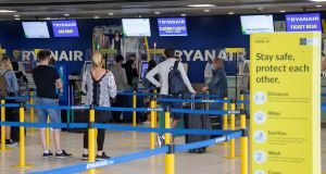 Passengers at the Ryanair check in at Dublin Airport. Photograph:  Colin Keegan/Collins Dublin