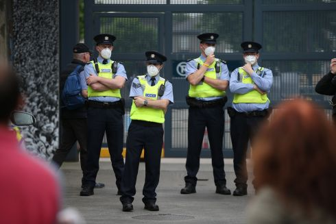 PROTEST: Protests took place outside Croke Park during Eid prayer gathering at the venue on Friday morning. Gardaí in attendacne wore face coverings in light of the ongoing Covid-19 pandemic. Photograph: Nick Bradshaw/The Irish Times
