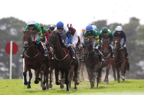 GALLOPING: Runners and riders compete in the Guinness Galway Tribes Handicap Hurdle during day five of the 2020 Galway Races Summer Festival at Galway Racecourse. Photograph: Brian Lawless/PA Wire
