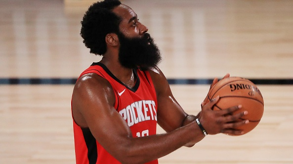 James Harden of the Houston Rockets shoots a free throw during the first half against the Dallas Mavericks. Photograph: Getty Images