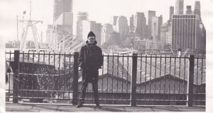 Godfrey Fitzsimons in New York in 1969 or 1970. The Twin Towers are under construction on the left hand side.